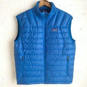 Patagonia men's blue goose down puffer vest